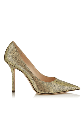 LOVE 100 Gold Metallic Lizard Print Leather Pointy Toe Pump