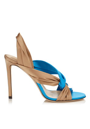 LALIA 100 Sky Mix Satin Mules with Intertwined Upper