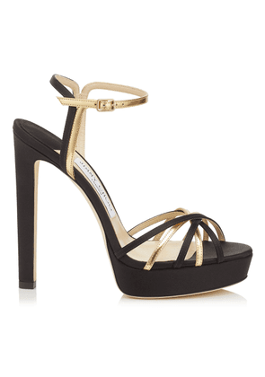 LILAH 130 Black Satin and Gold Mirror Leather Sandal