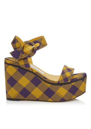 ABIGAIL 100 Saffron Mix Check Fabric Chunky Wedges
