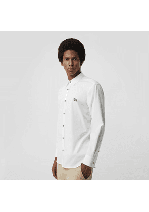 Burberry Contrast Button Stretch Cotton Shirt, Size: XXXL, White