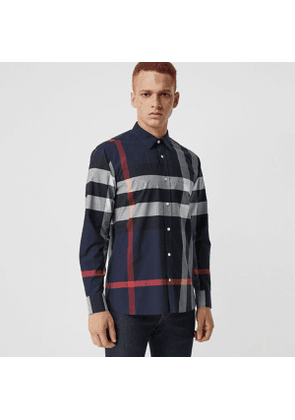 Burberry Check Stretch Cotton Shirt, Size: XXXL, Blue