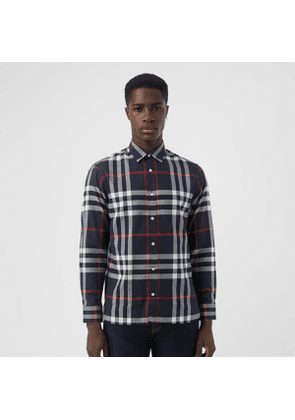 Burberry Check Cotton Flannel Shirt, Size: XXXL, Blue