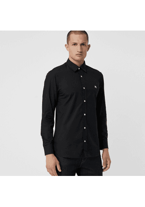 Burberry Contrast Button Stretch Cotton Shirt, Size: L, Black