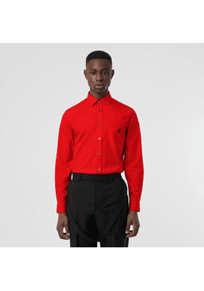 Burberry Monogram Motif Stretch Cotton Poplin Shirt, Red