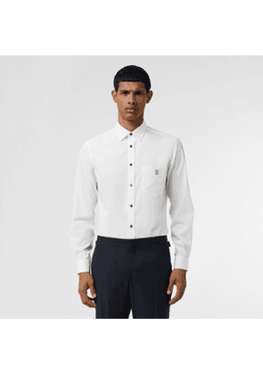 Burberry Monogram Motif Stretch Cotton Poplin Shirt, White