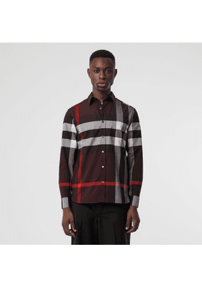 Burberry Check Stretch Cotton Shirt, Size: XXL, Deep Claret