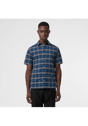 Burberry Short-sleeve Check Stretch Cotton Shirt, Size: XXXL, Blue