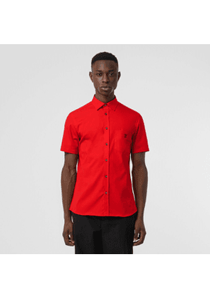 Burberry Short-sleeve Monogram Motif Stretch Cotton Shirt, Size: XXXL, Red