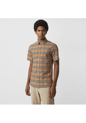 Burberry Short-sleeve Check Stretch Cotton Shirt, Size: XXXL, Beige