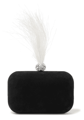 Jimmy Choo - Cloud Crystal And Feather-embellished Suede Clutch - Black