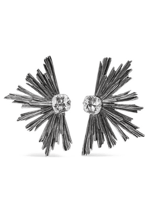 Saint Laurent - Silver-tone Crystal Clip Earrings - one size