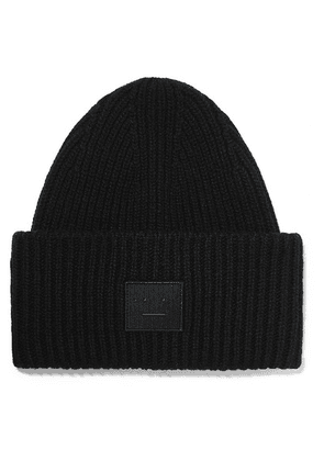 Acne Studios - Pansy Face Appliquéd Ribbed Wool Beanie - Black