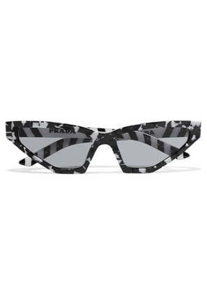 Prada - Cat-eye Marbled Acetate Sunglasses - Black