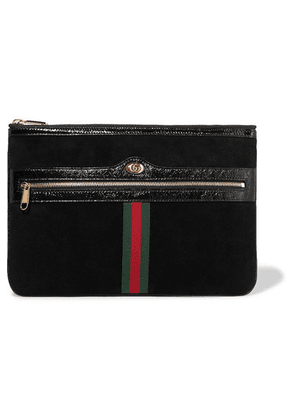 Gucci - Ophidia Medium Patent Leather-trimmed Suede Pouch - Black