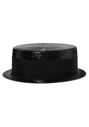 Saint Laurent - Cotton-faille Trimmed Coated Faux Raffia Hat - Black