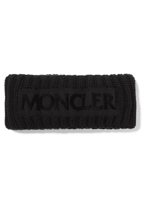 Moncler - Flocked Grosgrain-trimmed Ribbed Wool Headband - Black