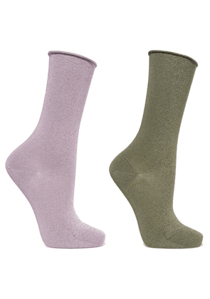 Falke - Set Of Two Metallic Stretch-knit Socks - Lilac
