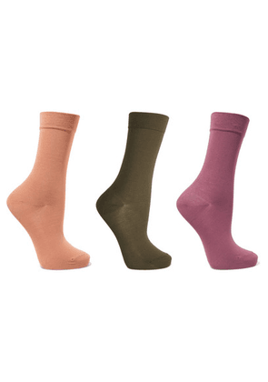Falke - Set Of Three Cotton-blend Socks - Light brown