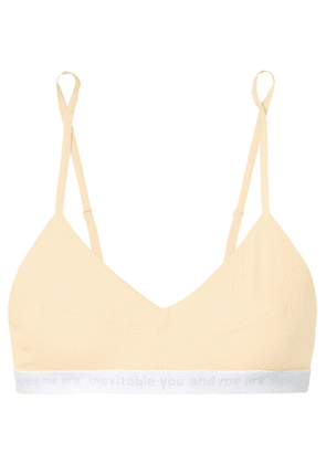 Baserange - Isola Intarsia-trimmed Ribbed Stretch-organic Cotton Soft-cup Bra - Yellow