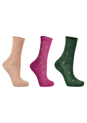 Falke - Set Of Three Metallic Knitted Socks - Blush