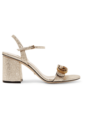 Gucci - Marmont Logo-embellished Metallic Cracked-leather Sandals - Gold