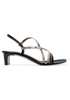 ATP Atelier - Nashi Snake-effect Leather Slingback Sandals - Snake print