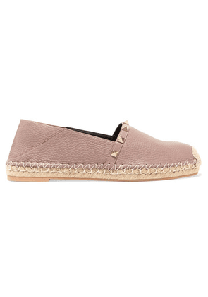 Valentino - Valentino Garavani The Rockstud Double Textured-leather Collapsible-heel Espadrilles - Neutral