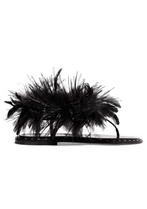 Valentino - Feather-embellished Suede Sandals - Black