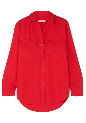 Equipment - Signature Washed-crepe Shirt - Red