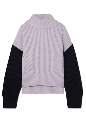 Ninety Percent - Two-tone Ribbed Organic Merino Wool Turtleneck Sweater - Lilac