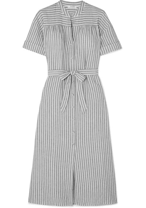 FRAME - Belted Striped Linen And Cotton-blend Dress - Gray