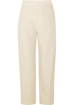 Totême - Novara Cotton And Linen-blend Straight-leg Pants - Cream