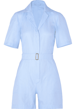 Giuliva Heritage Collection - The Sienna Belted Cotton Oxford Playsuit - Light blue