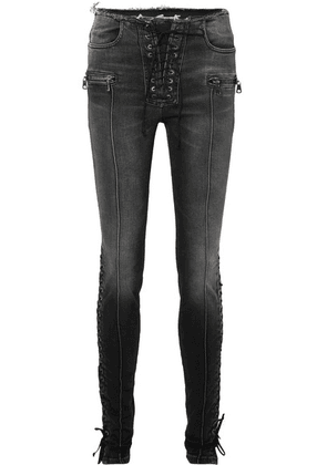 Unravel Project - Lace-up High-rise Skinny Jeans - Black