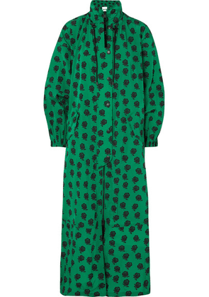 KENZO - Floral-print Shell Coat - Green