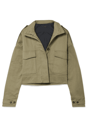 The Range - Cropped Cotton-blend Twill Jacket - Army green
