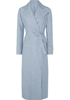 Giuliva Heritage Collection - The Belinda Pinstriped Linen Coat - Light blue