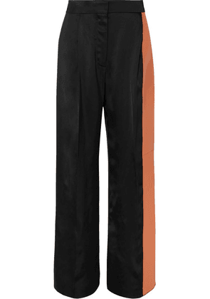 Loewe - Paneled Satin And Leather Wide-leg Pants - Black