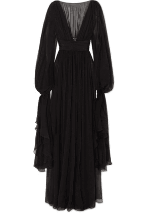 SAINT LAURENT - Ruffled Tiered Silk-chiffon Gown - Black