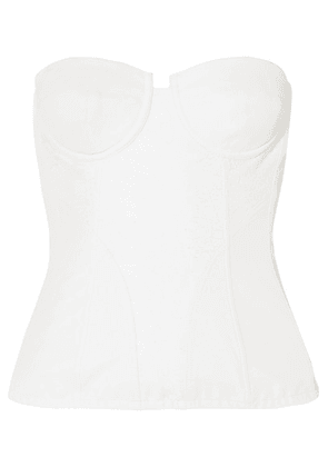AMIRI - Paneled Leather And Lace Bustier Top - White