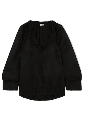 Totême - Armo Gathered Lyocell And Cotton-blend Blouse - Black