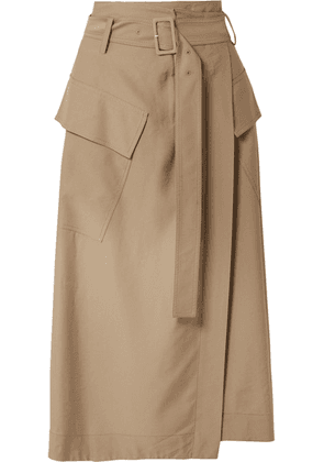 Vince - Belted Twill Wrap Skirt - Tan