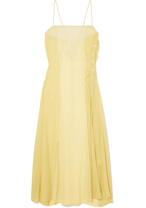 Acne Studios - Delila Button-embellished Silk-chiffon And Crepe De Chine Dress - Pastel yellow