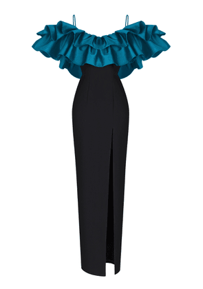 Rasario Ruffled Off-The-Shoulder Crepe Gown