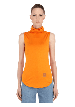 Silk Blend Jersey Turtleneck Top