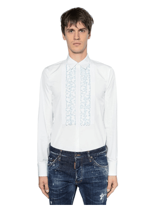 Ruffled Cotton Poplin Tuxedo Shirt