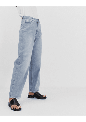Weekday oversized low rise wide leg jeans in light blue