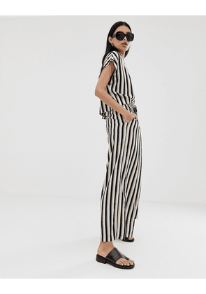 Weekday relaxed fit cropped co-ord trousers in mono stripe
