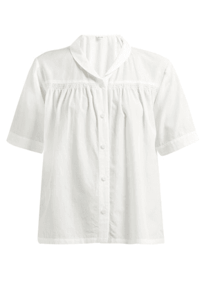 Chimala - Shawl Collar Twill Shirt - Womens - White